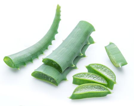 Aloe or Aloe vera fresh leaves and slices on white background. Stock Photo