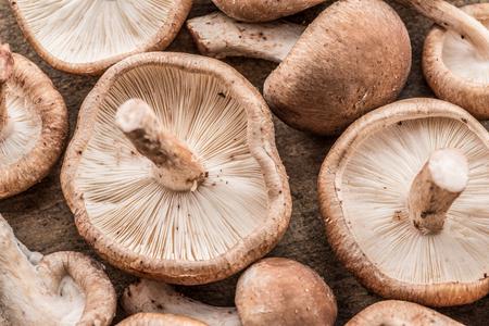 Shiitake mushrooms. Macro. Food background. Banco de Imagens