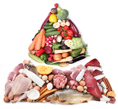 Food pyramid or diet pyramid presents basic food groups. 스톡 콘텐츠