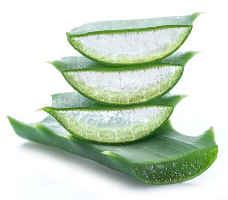 Aloe vera fresh slices on white background. Macro. Stock Photo