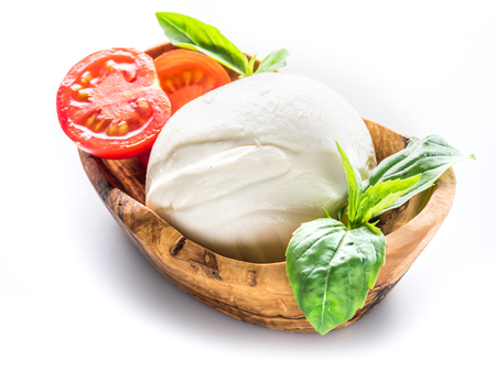 Buffalo mozzarella in the wooden bowl on white background. Archivio Fotografico