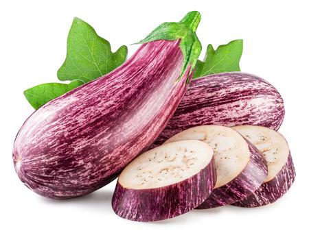 Aubergine or eggplant with aubergine slices on white background. Stock Photo