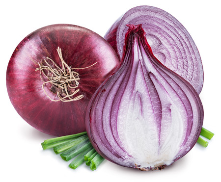 Red onion bulb and cross sections of onion isolated on the white background. Stock Photo