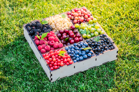 Summer berries in wooden box on the green grass. Top view. Standard-Bild