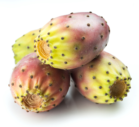 Opuntia fruit or prickly pear fruit on white background. Close-up. Imagens