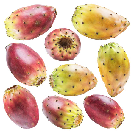Prickly pears or opuntia fruits collection on white background. File contains clipping path.