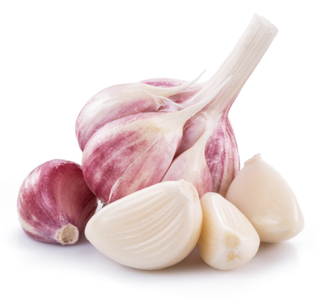 Garlic bulb and garlic cloves isolated on white background.
