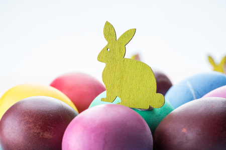 Colorful Easter eggs as an attribute of Easter celebration.
