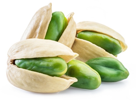 Green pistachio nuts with pistachio shell on white background. Imagens - 119386319