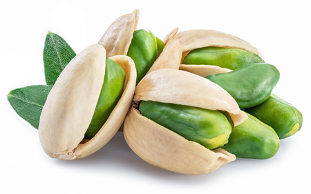Green pistachio nuts with pistachio shell on white background. Imagens - 118959974