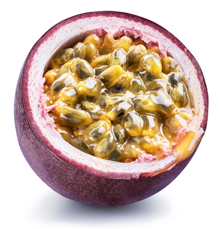 Passion fruit cross section with pulpy juice filled with seeds.