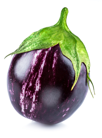 Aubergine or eggplant on white