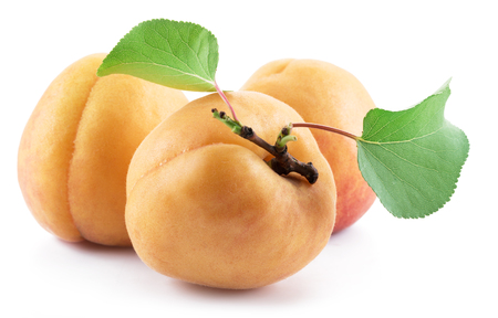 Three ripe apricots isolated on the white Stock Photo