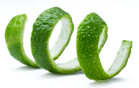 Lime fruit peel isolated on the white background. 免版税图像
