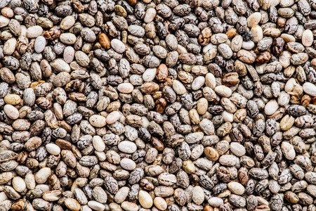 Heap of Chia seeds. Food background.