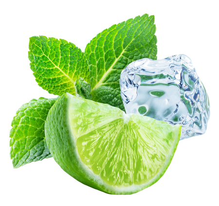 Ripe lime slice, ice cube and mint leaves on white background. Clipping path.