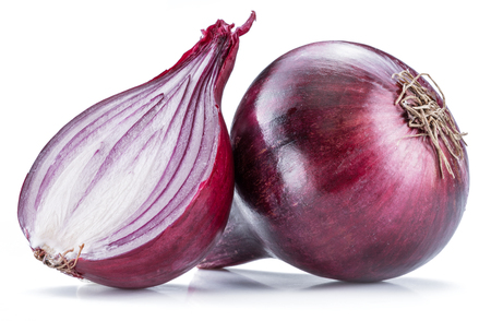 Red onion bulb and cross section isolated on the white background.