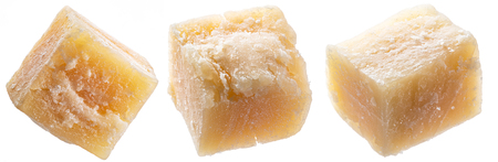 Parmesan cheese cubes isolated on white background. File contains clipping path. Archivio Fotografico