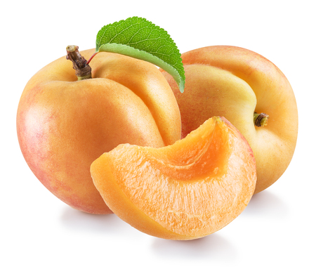 Ripe apricot fruits with a leaf. Stock Photo