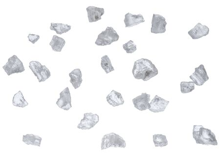 Salt crystals isolated on white background.