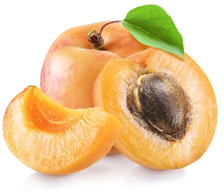 Ripe apricot fruits with a leaf. Imagens