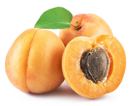 Ripe apricots isolated on the white