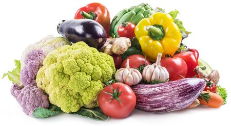 Group of colorful vegetables on white background. Close-up. Banco de Imagens