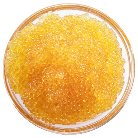 Pike caviar or roe in the bowl. Clipping path. Top view. Banco de Imagens