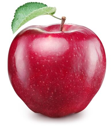 Ripe red apple fruit with green apple leaf. File contains clipping path.