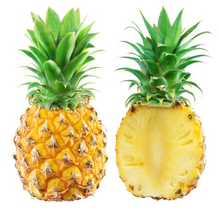 Whole pineapple and half of pineapple isolated on white background.