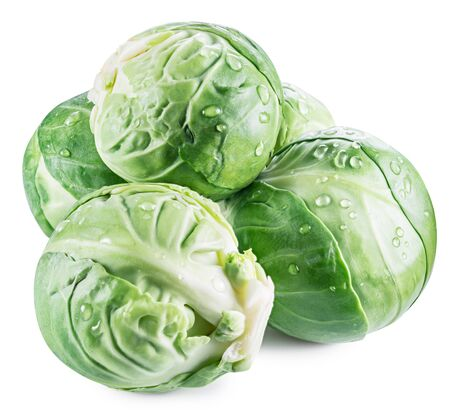 Green brussel sprouts with water drops isolated on white background. File contains clipping path. Stock fotó - 133688651