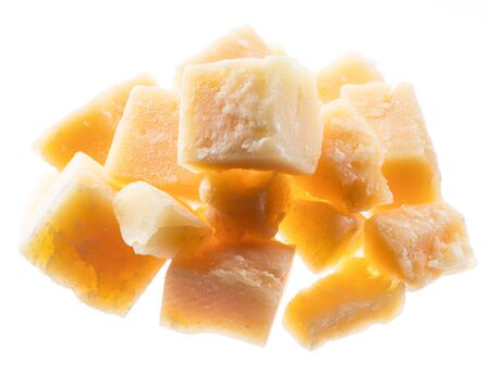 Parmesan cheese cubes isolated on white background. Archivio Fotografico