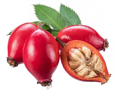 Rose-hips or wild rose berries isolated on a white background. Stockfoto