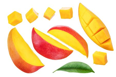 Set of mango slices and cubes. Isolated on a white background.