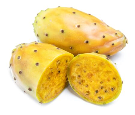 Opuntia fruit or prickly pear fruit on white background. Close-up. Stock Photo