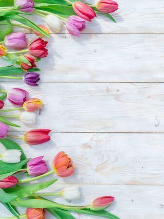 在白色木桌上的五颜六色的郁金香在春天阳光下。春天背景。