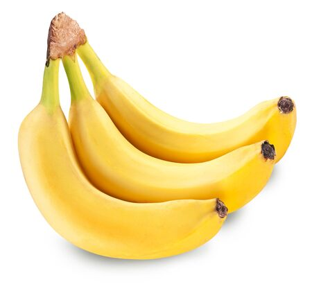 Bunch of three bananas isolated on a white background. File contains clipping path. Foto de archivo