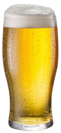 Beer glass isolated on a white background. Light beer.