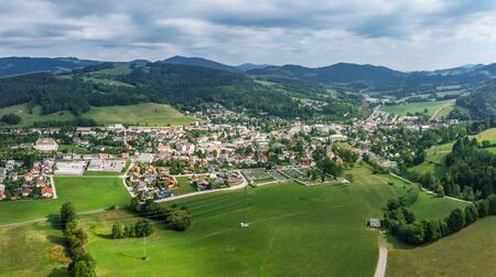 Beautiful panoramic view of Hainfeld town in Lower Austria. Top view photo taken on drone Stock Photo