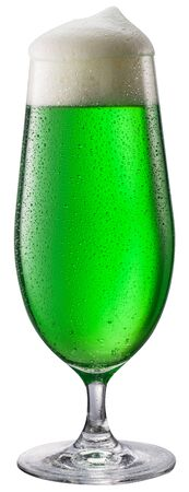 Glass of green beer isolated on a white background. Green beer - a symbol of the feast of St. Patrick day.