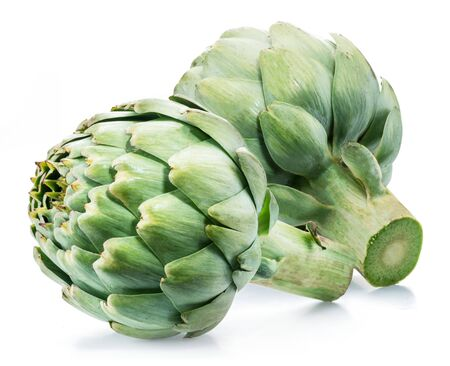 Artichoke flower edible buds isolated on white background.