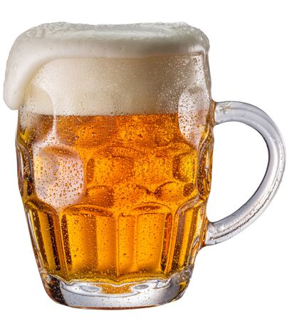 Beer glass isolated on a white background. Contains clipping path. Light beer.