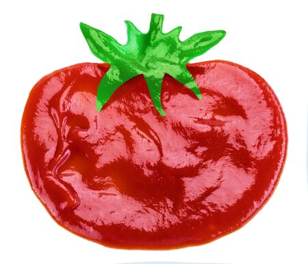 Ketchup or tomato sauce in the shape of tomato fruit on white background.
