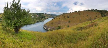 Banks of the Dniester River. Beautiful nature landscape. Traveling across Ukraine. Podilski Tovtry.