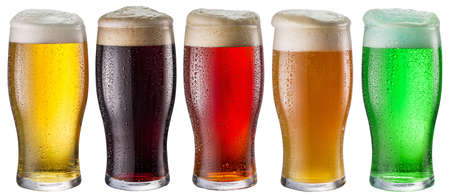 Collection of five types of different beer in glasses isolated on a white background. Each beer glass contains a clipping path. Standard-Bild
