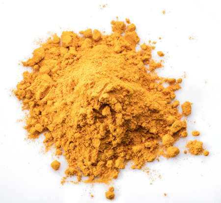 Turmeric powder or curcuma powder, commonly used as a spice or dyeing. Isolated on white background. Stock fotó