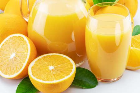 Yellow orange fruits and fresh orange juice