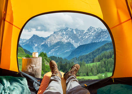 Spectacular view of nature from open tent entrance.