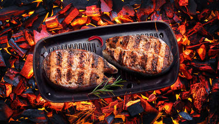 Two grilled salmon steaks on bbq grate over hot pieces of coals. Top view. Фото со стока