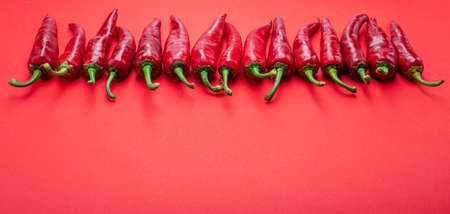 Fresh red chili peppers lay in a row